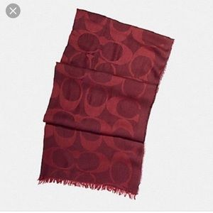 COACH Signature Oxblood lightweight wrap/scarf
